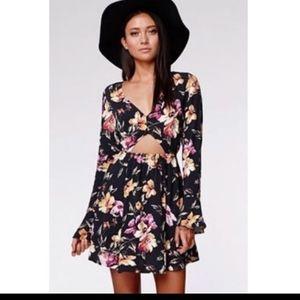 Kendall & Kylie Black Floral Cutout Dress